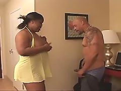 Horny as hell ebony bitch fucks man